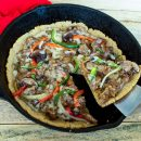 A #wholesome #KetoBreakfastPizza recipe made for the #gestationaldiabetesdiet with only 12 total carbs per serving: 5 ingredients and ready in 25 minutes! Also #GlutenFree, #GrainFree, #SugarFree and #Vegetarian. thegestationaldiabetic.com