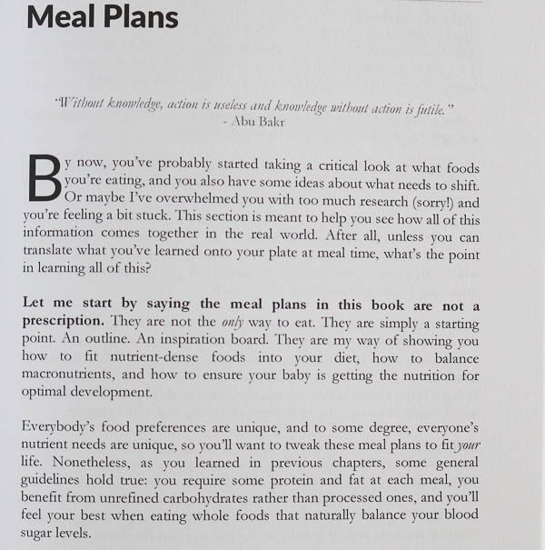 excerpt from real food for pregnancy