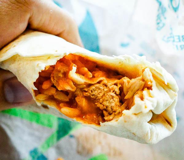 Taco Bell shredded chicken burrito