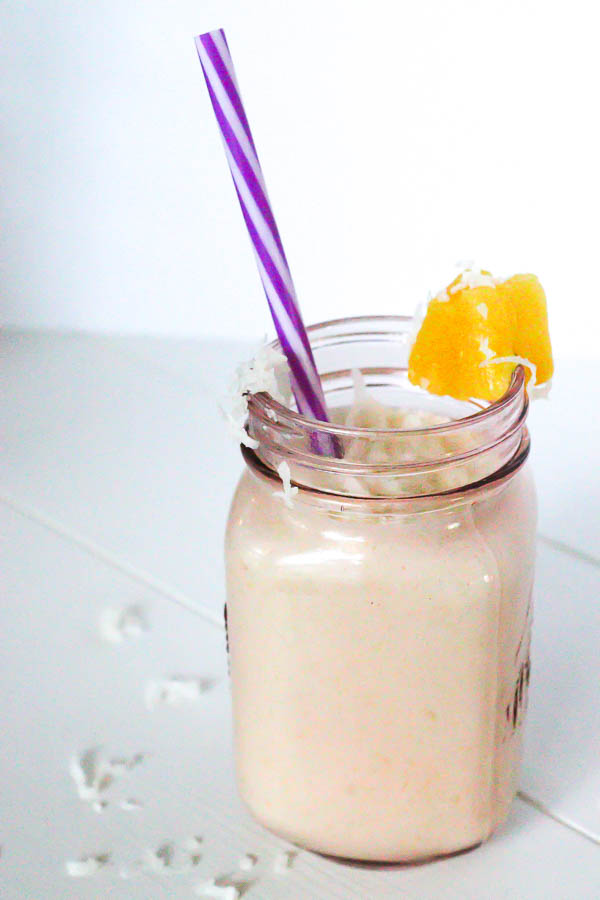 Healthy Pina Colada Chia Pudding in glass jar blended as a smoothie 1
