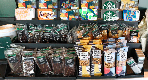 snacks on display at starbucks