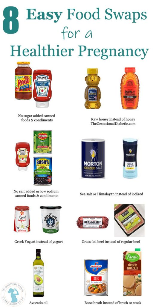 infographic for 8 easy food swaps for a healthier pregnancy to include raw honey, no salt add or low sodium products, no sugar added products, sea or himalayan salt, greek yogurt, grass fed beef, bone broth and avocado oil