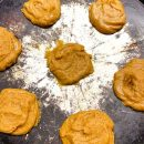 peanut butter cookie batter on cookie sheet